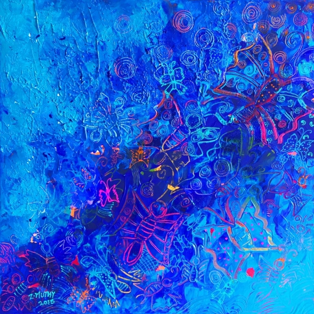 Blue Paintings, Abstract, artwork for sale, Zaahirah Muthy