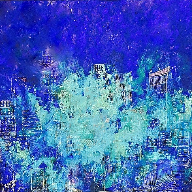 MyDubai, Zaahirah Muthy, Blue painting, abstract