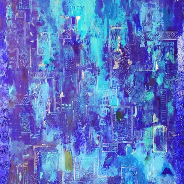 Mixed Media, My Blue world, Blue painting, Zaahirah Muthy